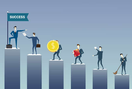 Business People Standing Financial Bar Graph Group Concept Business people Team Flat Vector Illustration