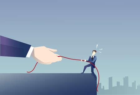 Businessman Walk In Cliff Gap Holding Rope Business Man Risking Flat Vector Illustration Illustration