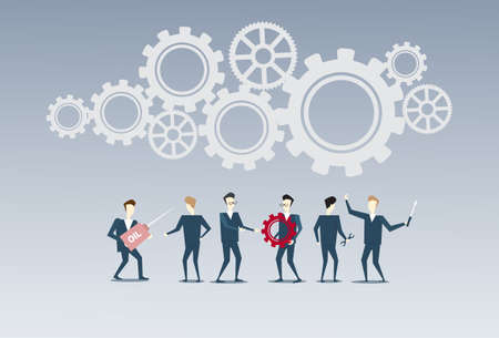 thoughtful: Business People Group Under Cog Wheel Work Together Brainstorming Process Strategy Concept Flat Vector Illustration