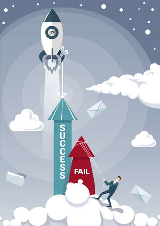 Business Man Hold Fail With Rope While Success Arrow Growing Up With Space Ship Rocket Flying Successful Startup.
