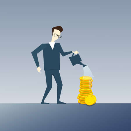 Rich Business Man Watering Coin Stack Money Growth Concept Finance Success Flat Vector Illustration Illustration