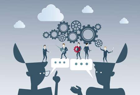Business People Group Under Cog Wheel Work Together Brainstorming Process Strategy Concept Flat Vector Illustration