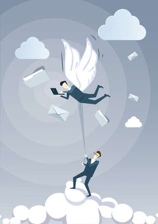 using laptop: Business Man Hold Colleague With Wings Flying In Sky Using Laptop Computer Chatting Online Flat Vector Illustration Illustration