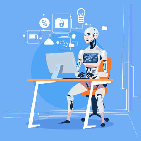Modern Robot Working With Computer Fixing Errors Futuristic Artificial Intelligence Technology Concept Flat Vector Illustration