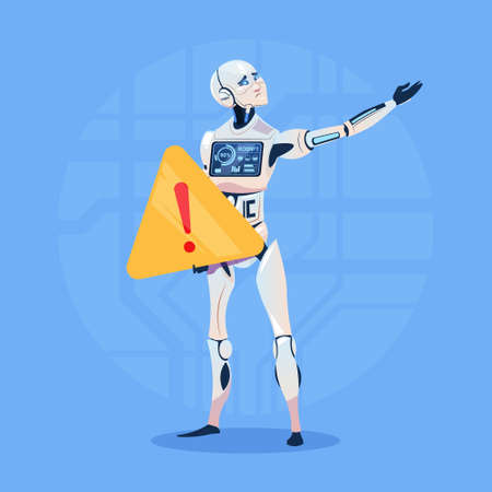 Modern Robot Showing Error Message Futuristic Artificial Intelligence Technology Concept Flat Vector Illustration Ilustrace