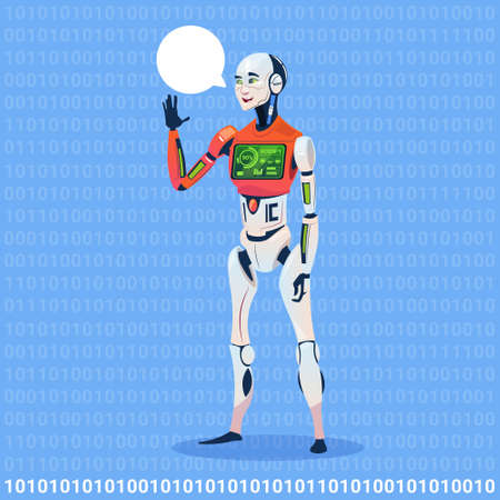 Modern Robot Show Chat Bubble Message With Full Battery Charge Futuristic Artificial Intelligence Technology.