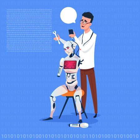 green issue: Man Fixing Modern Robot Futuristic Artificial Intelligence Technology Concept Flat Vector Illustration Illustration