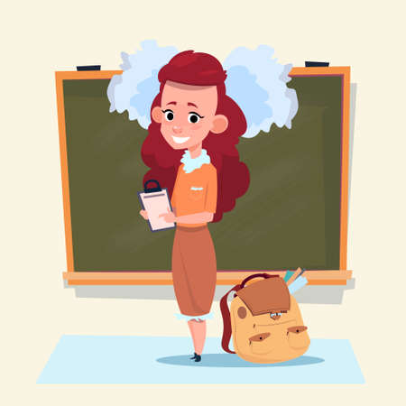 Small School Girl Standing Over Class Board Schoolgirl Education Banner Flat Vector Illustration