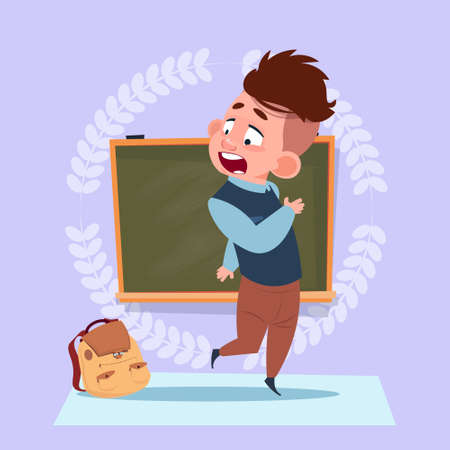 Small School Boy Standing Over Class Board Schoolboy Education Banner Flat Vector Illustration