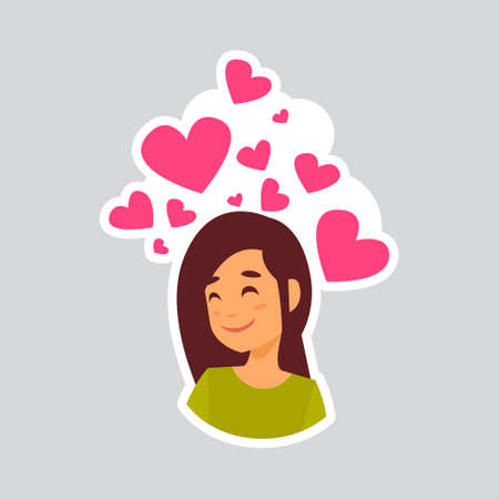 Girl Smiling Over Heart Shape Sticker For Messenger, Label Icon Colorful Logo Vector Illustration