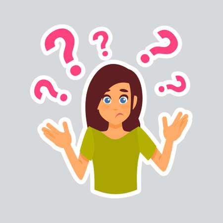 Girl Having Question Sticker For Messenger, Label Icon Colorful Logo Vector Illustration Ilustracja