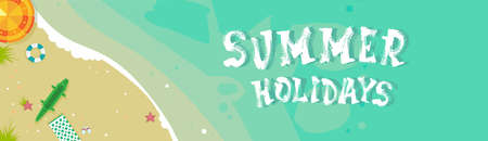 Summer Beach Vacation Seaside Sand Tropical Holiday Banner Flat Vector Illustration