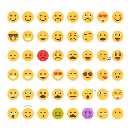 Geel Cartoon Face Set Emoji Mensen Verschillende Emotie Icon Collection Flat Vector Illustratie
