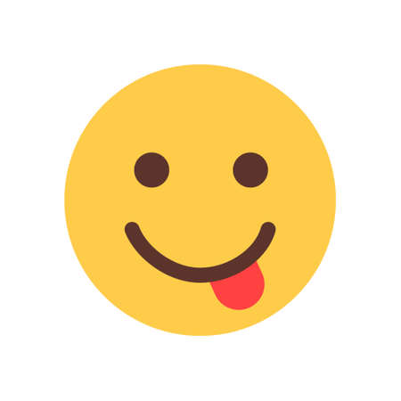 Yellow Smiling Cartoon Face Show Tongue Emoji People Emotion Icon Flat Vector Illustration Illustration