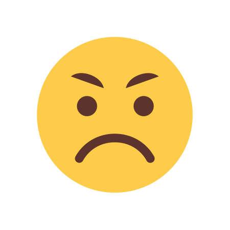 黄色の怒っている漫画顔絵文字人感情アイコン フラット ベクトル図
