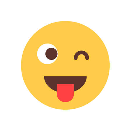 Yellow Smiling Cartoon Face Show Tongue Wink Emoji People Emotion Icon Flat Vector Illustration