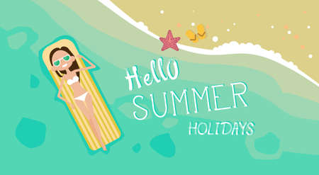 Woman Lying On Summer Beach Vacation Seaside Sand Tropical Holiday Banner Flat Vector Illustration