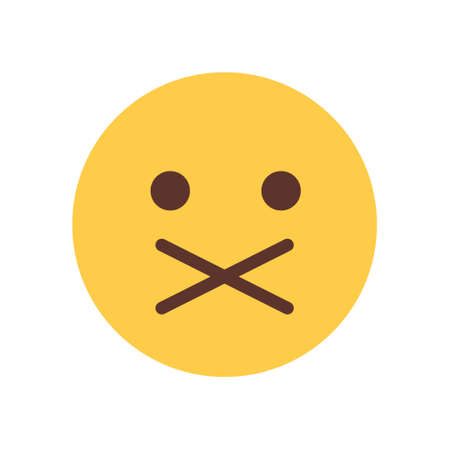 silent: Yellow Cartoon Face Silent Shocked Emoji People Emotion Icon Flat Vector Illustration