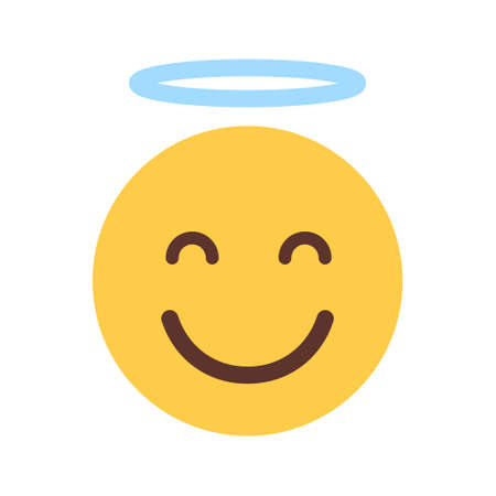 Yellow Smiling Cartoon Face Cute Angel Emoji People Emotion Icon Flat Vector Illustration
