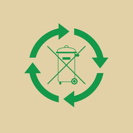 Rubbish Bin With Recycle Symbol Green Arrows Logo Web Icon Vector Illustration