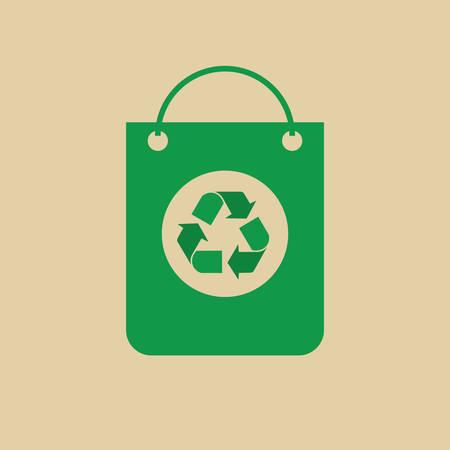 Recycle Symbol On Shopping Bag Green Arrows Logo Web Icon Vector