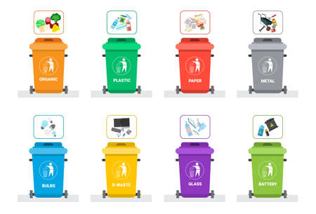 Rubbish Container For Sorting Waste Icon Set Recycle Garbage Concept Logo Collection Vector Illustration