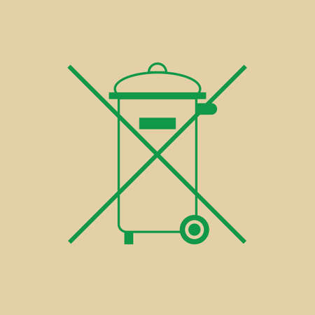 Not Into Rubbish Sign Garbage Crossed Green Logo Web Icon Vector Illustration Illustration