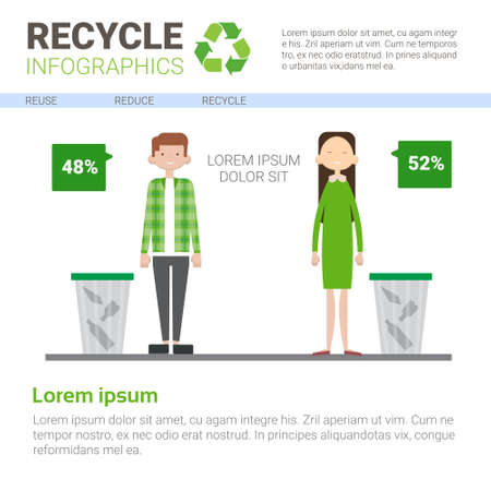 Recycle Infographic Banner Waste Gathering Sorting Garbage Concept Vector Illustration Illustration