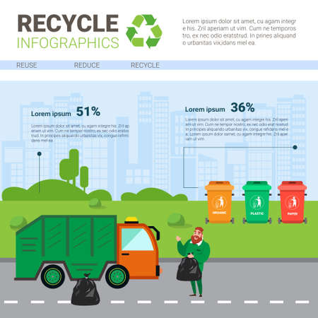 Recycle Infographic Banner Waste Truck Transportation Sorting Garbage Concept Vector Illustration Ilustrace