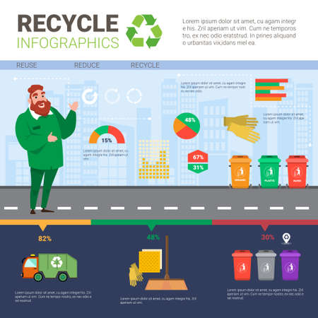 Recycle Infographic Banner Waste Truck Transportation Sorting Garbage Concept Vector Illustration Illustration