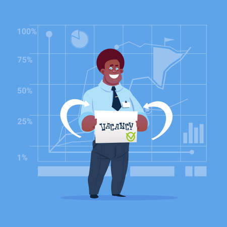 businessperson: African American Business Man Hired On Vacancy Recruitment New Job Position Concept Flat Vector Illustration