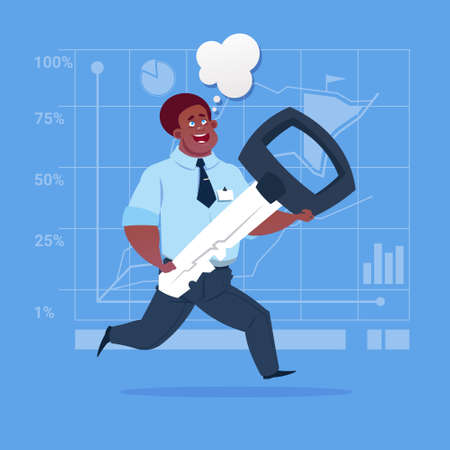 African American business man holding key. Illustration
