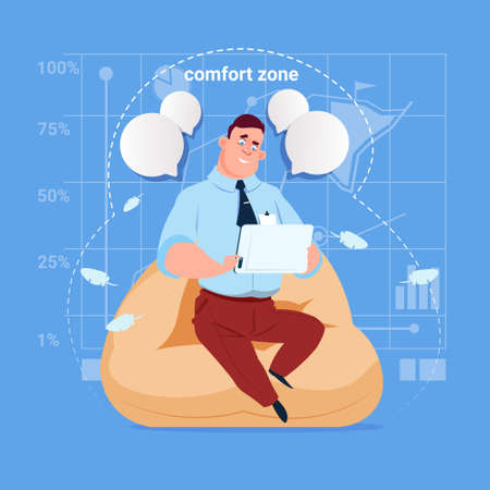 businessperson: Business Man Sit In Comfort Zone In Office Use Tablet Computer Media Social Network Communication Businessman Flat Design Vector Illustration
