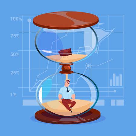Business Man Inside Sand Watch Clock Deadline Time Management Concept Flat Vector Illustration Illustration