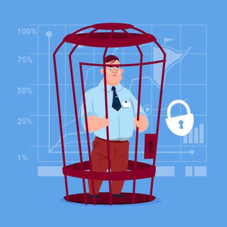 Business Man In Cage Prisoner Financial Problem Concept Flat Vector Illustration