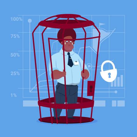 Business man in cage prisoner financial problem concept.