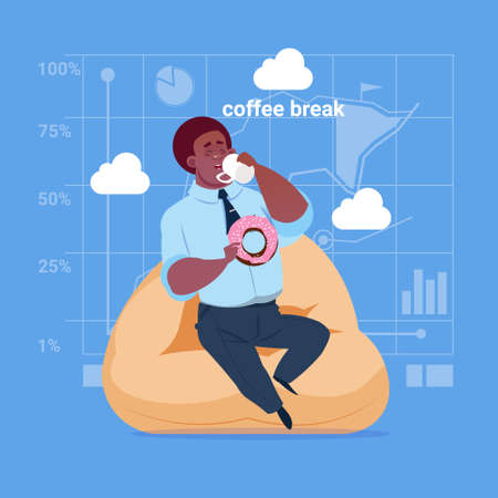 Business man having lunch during coffee break. Illustration