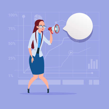 loud speaker: Business woman hold megaphone loudspeaker digital marketing concept.