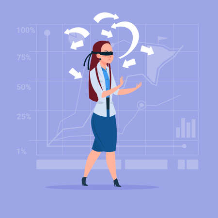 opportunity sign: Business Woman With Bandage On Eyes Choose Direction Way Arrow Risk Concept Flat Vector Illustration Illustration
