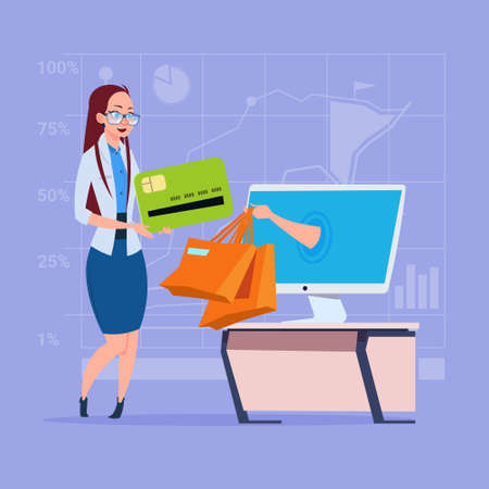 Business woman use computer online shopping bag hand screen. Illustration
