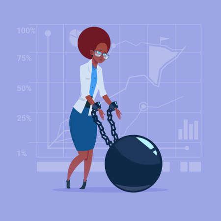 Business woman chain bound hands credit debt finance crisis concept.