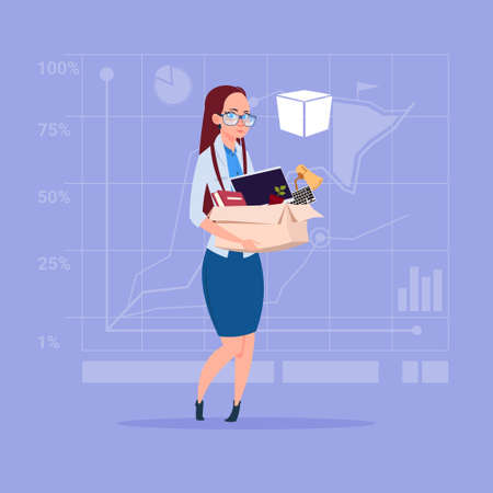 Business woman hold box with office stuff search for job position vacancy unemployment concept. Illustration
