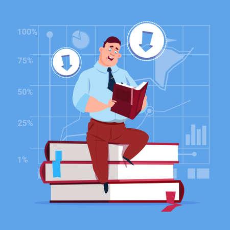 Business Man Sitting On Books Stack Reading Education Concept Flat Vector Illustration Illustration