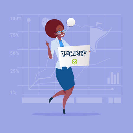 businessperson: African American Business Woman Hired On Vacancy Recruitment New Job Position Concept Flat Vector Illustration