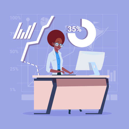 African American Business Woman Sitting Desk Working Computer Over Financial Charts Flat Vector Illustration
