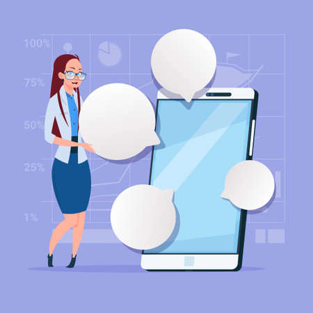 businessperson: Business Woman Stand With Big Cell Smart Phone Social Network Communication Businesswoman With Chat Bubble Flat Design Vector Illustration
