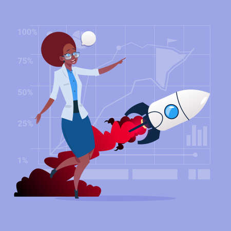 fly up: African American Business Woman Looking At Flying Rocket New Startup Strategy Concept Flat Vector Illustration Illustration