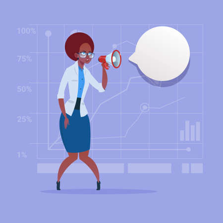 African American Business Woman Hold Megaphone Loudspeaker Digital Marketing Concept Flat Vector Illustration