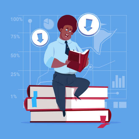 businessperson: African American Business Man Sitting On Books Stack Reading Education Concept Flat Vector Illustration