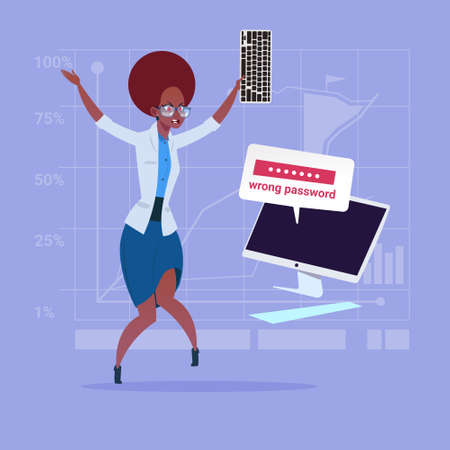 Angry African American Business Woman Inputting Wrong Password Using Computer Problem With Access Concept Flat Vector Illustration